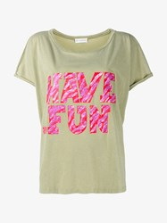 Faith Connexion Have Fun T Shirt Green Multi Coloured Pink