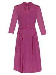 Bottega Veneta Ric Rac Trimmed Silk Midi Dress Pink