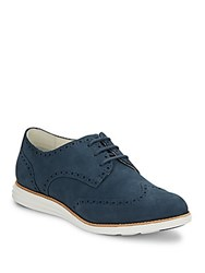 Cole Haan Lunargrand Suede Wingtip Oxfords Blazer Blue