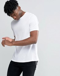 Asos Longline T Shirt With Tie Lace Up Sides White