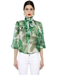 Dolce And Gabbana Leaves Printed Silk Chiffon Shirt