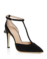 Tory Burch Belleville Bow T Strap High Heel Pumps Black Light Gold