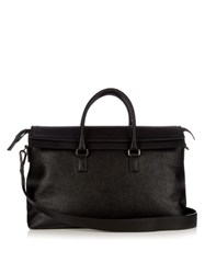 Salvatore Ferragamo Techno Grained Leather Holdall Black