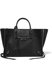 Balenciaga Papier A6 Textured Leather Tote Black