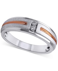 Macy's Diamond Accent Men's Wedding Band In Sterling Silver And 14K Rose Gold