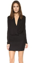 Lanston Surplice Long Sleeve Dress Black