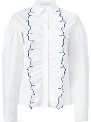 Vivetta Embroidered Face Frilled Shirt White