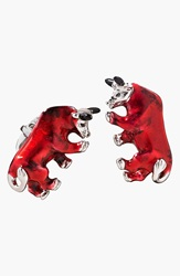 Jan Leslie Bull Cuff Links Silver Red
