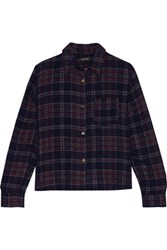 Isabel Marant Kessa Plaid Wool Blend Shirt Midnight Blue