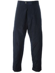Song For The Mute Grey Pinstripe Straight Trousers Blue