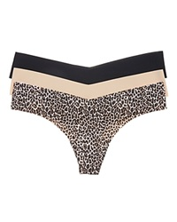 Commando Holiday Seamless Thongs Set Of 3 Gp049 Topaz Panther True Nude Black