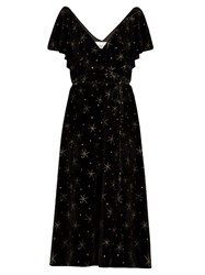 Valentino Glitter Star Embellished Velvet Dress Black