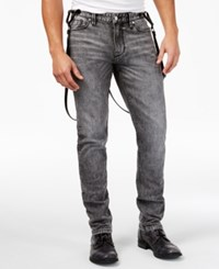 Guess Men's Slim Fit Tapered Jeans With Suspenders Pavement Wash Black