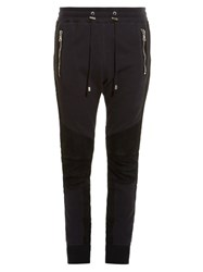 Balmain Biker Ribbed Panel Track Pants Black Multi