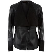 Jaeger Leather Suede Panel Jacket Black