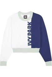 Ivy Park Cropped Color Block Cotton Jersey Sweatshirt White