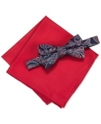 Countess Mara Men's Martin Paisley Pre Tied Bow Tie And Solid Pocket Square Set Navy Red