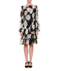 Dolce And Gabbana Tulip Print Chiffon Swing Dress Tulip.Bco F.Nero