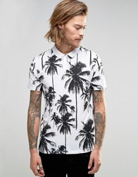 Asos Polo Shirt With All Over Palm Tree Print White