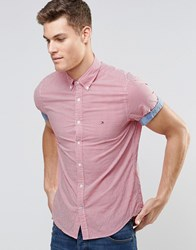 Tommy Hilfiger Shirt In Red Gingham Check Short Sleeves In Slim Fit Stretch Barberry