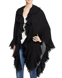 Minnie Rose Ruffle Cashmere Shawl Black