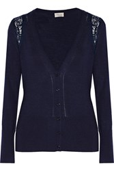 Temperley London Grace Lace Trimmed Stretch Wool Silk And Cashmere Blend Cardigan