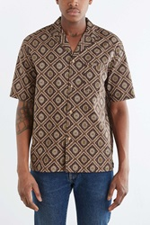 Koto Short Sleeve Printed Tile Button Down Shirt Brown