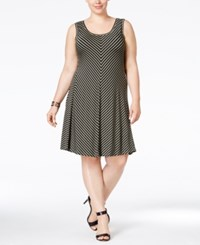 Styleandco. Style And Co. Plus Size Striped Sleeveless Swing Dress Only At Macy's Stripe Olive