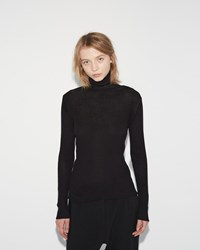 Sara Lanzi Wool Crepe Turtleneck Black