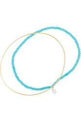Inez And Vinoodh 18 Karat Gold Turquoise And Pearl Interlinked Bracelets Blue