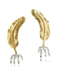 Bernard Delettrez Bronze Feather W Silver Claw Earrings