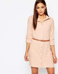 Missguided Belted Shirt Dress Beige