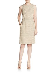 Gustavo Cadile Silk Sequined Sheath Dress Gold