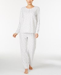 Charter Club Printed Thermal Fleece Pajama Set Only At Macy's Ivory Damask
