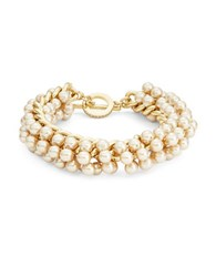 Carolee Faux Pearl Toggle Bracelet Gold