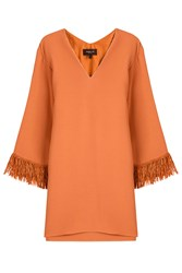 Derek Lam Tunic Top With Fringed Cuffs Orange