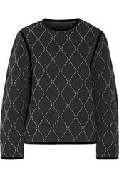 Alexander Wang Velvet Trimmed Studded Wool And Cashmere Blend Sweatshirt Dark Gray