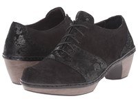 Naot Footwear Besalu Black Lace Nubuck Shiny Black Leather Women's Shoes