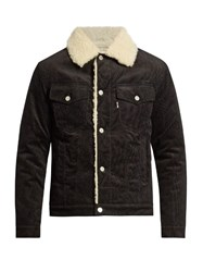 Maison Kitsune Faux Shearling Lined Corduroy Jacket Black Multi