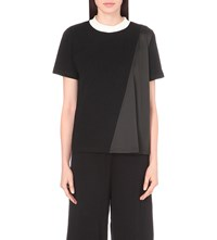 Izzue Panelled Cotton Jersey And Satin Top Black