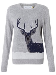 John Lewis Collection Weekend By Snow Deer Intarsia Jumper Grey Multi