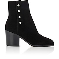 Maison Martin Margiela Women's Button Embellished Suede Ankle Boots Blue