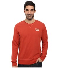 Life Is Good Bold Go To Crew Earthy Rust Men's Long Sleeve Pullover Red