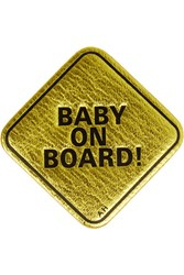 Anya Hindmarch Baby On Board Metallic Textured Leather Sticker Gold