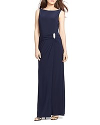 Lauren Ralph Lauren Boat Neck Embellished Brooch Gown Lighthouse Navy