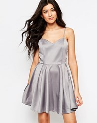 Mela Loves London Back Bow Skater Dress Grey