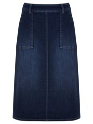 Mint Velvet Side Split Denim Skirt Blue