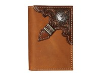 Ariat Embossed With Concho Trifold Wallet Brown Bi Fold Wallet