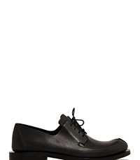 Fauvel Flat Pleat Derby Shoes Black