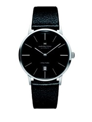 Hamilton American Classic Intra Matic Auto Stainless Steel And Leather Strap Watch Black